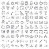 100 vector geplaatste lijnpictogrammen Royalty-vrije Stock Foto