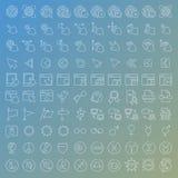 100 vector geplaatste lijnpictogrammen Royalty-vrije Stock Afbeelding