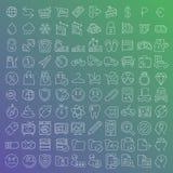 100 vector geplaatste lijnpictogrammen Stock Foto