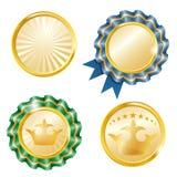 Vector geplaatste medailles Stock Afbeeldingen