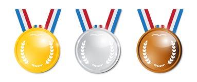 Vector Geplaatste Medailles Royalty-vrije Stock Fotografie