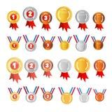 Vector Geplaatste Medailles Stock Afbeelding