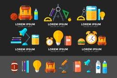 Vector geplaatste onderwijspictogrammen Middelbare schoolvoorwerp in vlakke stijl  stock foto