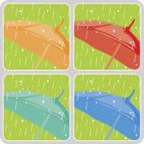Vector geplaatste paraplu's Stock Afbeeldingen