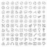 100 vector geplaatste pictogrammen Stock Afbeelding