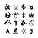 Vector geplaatste pictogrammen van de ridder de middeleeuwse geschiedenis Stock Afbeeldingen