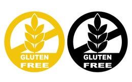 Vector geplaatste pictogrammen van het gluten de vrije etiket Geen malplaatjes D van tarwesymbolen royalty-vrije illustratie