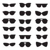 Vector geplaatste pictogrammen van zonnebril de zwarte silhouetten modern minimalistic ontwerp Royalty-vrije Stock Foto's