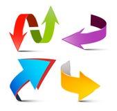 Vector geplaatste pijlen Kleurrijke 3d pijlen Stock Fotografie