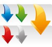 Vector geplaatste pijlstickers. Transparante gemakkelijke schaduw Royalty-vrije Stock Afbeelding