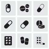 Vector geplaatste pillenpictogrammen Stock Afbeeldingen