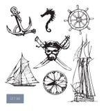 Vector geplaatste piraatsymbolen: heel Roger, anchore stock illustratie