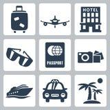Vector geplaatste reispictogrammen Stock Foto