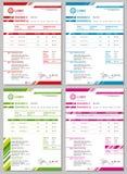 Vector geplaatste Rekeningsmalplaatjes stock illustratie