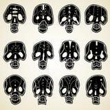 Vector geplaatste schedels stock fotografie