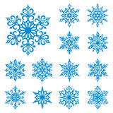 Vector geplaatste sneeuwvlokken Royalty-vrije Stock Afbeeldingen