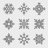 Vector geplaatste sneeuwvlokken De Pictogrammen van sneeuwvlokken Royalty-vrije Stock Afbeelding