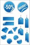 Vector geplaatste stickers en etiketten royalty-vrije stock afbeeldingen