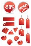 Vector geplaatste stickers en etiketten royalty-vrije stock afbeelding