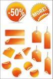 Vector geplaatste stickers en etiketten stock foto