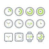Vector geplaatste tijdopnemers Verscheidenheid van de klokpictogrammen Moderne vlakke stijl Royalty-vrije Stock Fotografie