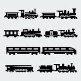 Vector geplaatste treinensilhouetten Royalty-vrije Stock Afbeeldingen