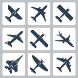 Vector geplaatste vliegtuigpictogrammen Stock Afbeelding