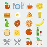 Vector geplaatste voedselpictogrammen Royalty-vrije Stock Afbeeldingen