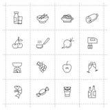 Vector geplaatste voedselpictogrammen Stock Foto