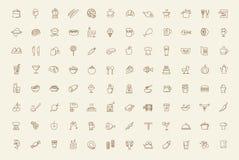 Vector geplaatste voedselpictogrammen stock illustratie