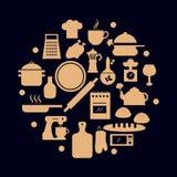Vector geplaatste voedselpictogrammen Stock Foto's