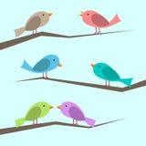 Vector Geplaatste Vogels Stock Fotografie