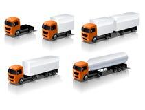 Vector geplaatste vrachtwagenpictogrammen Stock Afbeeldingen