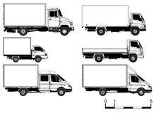 Vector geplaatste vrachtwagens Stock Foto's
