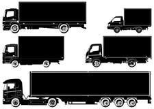 Vector geplaatste vrachtwagens Stock Afbeelding