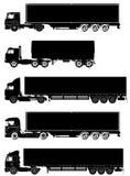 Vector geplaatste vrachtwagens Royalty-vrije Stock Afbeeldingen