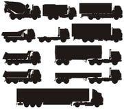 Vector geplaatste vrachtwagensilhouetten Stock Fotografie