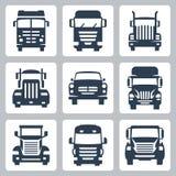 Vector geplaatste vrachtwagenspictogrammen: vooraanzicht Stock Afbeelding