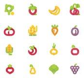 Vector geplaatste vruchten en groenten Royalty-vrije Stock Foto's