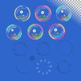 Vector geplaatste zeepbels Stock Afbeeldingen