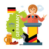Vector German policy. Woman politician. Flat style colorful Cartoon illustration. Royalty Free Stock Photography
