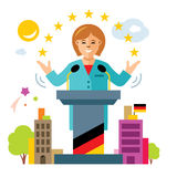 Vector German policy. Woman politician. Flat style colorful Cartoon illustration. Stock Photo