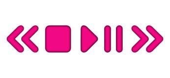 Vector gerundete Ikonen des Pausenspiel-Multimedia-Spielers Rosa mit innerem Schatten lizenzfreie abbildung