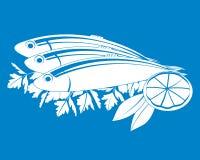 Vector gesalzene Fische und Zitrone Lizenzfreies Stockfoto