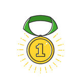 Vector Geschäftsillustration der Goldausweismedaille mit Bandikone in der flachen Linie Art Stockfotografie