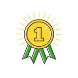 Vector Geschäftsillustration der Goldausweismedaille mit Bandikone in der flachen Linie Art Lizenzfreies Stockfoto