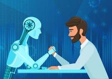 Vector Geschäftsmann-Bürovorstehermann der Karikatur menschlichen gegen Zugseilwettbewerb der künstlichen Intelligenz des Roboter vektor abbildung