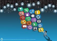 Vector Geschäftsmann mit den Ikonen, welche die Energie der Arbeit der Geschäftsmänner zeigen, die an einem flachen Design des er stock abbildung
