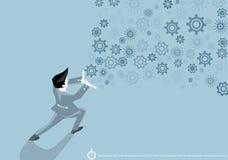 Vector Geschäftsmann mit den Ikonen, welche die Energie der Arbeit der Geschäftsmänner zeigen, die an einem flachen Design des er lizenzfreie abbildung
