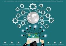 Vector Geschäftsmann unter Verwendung der modernen Technologie, Projektoraufgabe, Aufnahme von Fremdmitteln, globales Geschäft de Lizenzfreie Stockfotografie
